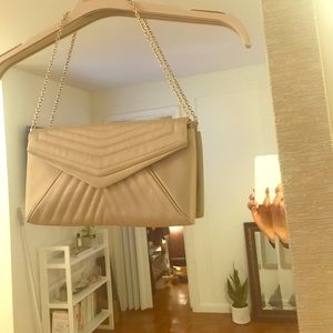 Tan purse with gold chain